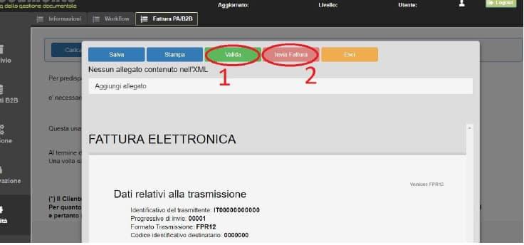Schermata fattura elettronica