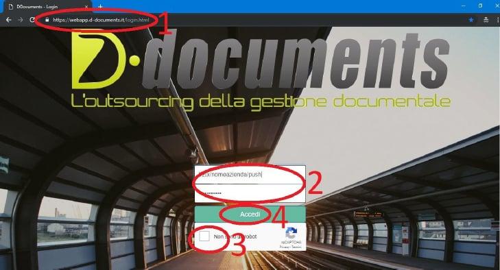 Pagina Login del servizio di fatturazione elettronica DDocuments